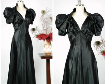 Vintage 1930s Dress - Winter 2017 Lookbook - The Magpie Gown - Glossy Black Wet Look Satin 30s Gown with Puffed Shoulders and Deep Neckline
