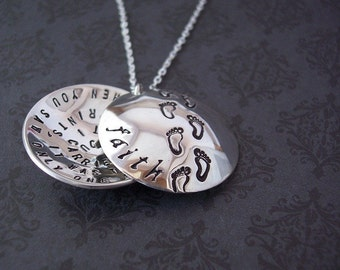 Hand Stamped Pendant  FOOTPRINTS in the SAND Sterling Silver Locket Style necklace