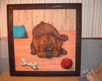 Boxer Puppy wood picture