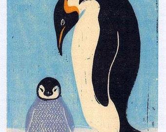 PENGUINS Poster Size Linocut Reproduction Art Print: 8 x 10, 9 x 12, 11 x 14, 12 x 16