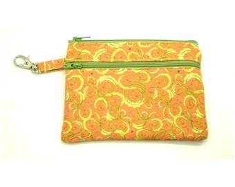 Larger Zippered Wallet Change Purse Gadget Case Orange with Lime Green Swirls 5249