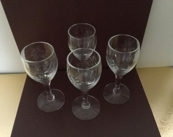 """Six-Point Pattern Cordial Glasses (Total of 4), Vtg Crystal Cordial Glasses , Crystal Stemware, Bar Glasses Susquehanna Crystal, 3 3/4"""" high"""