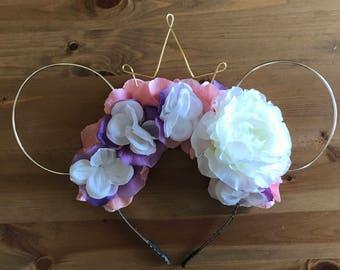 Wire mouse ears, rapunzel ears, wire ear headband, flower headband, tiara crown, minnie flower crown, the lost princess