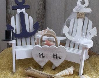 Nautical Wedding Cake Topper - Anchor Wedding Cake Topper, Navy Wedding Cake, Beach Wedding Cake Topper, Beach Theme, Coastal Wedding Cake