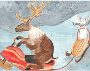 Caribou on a Snowmobile - Watercolor Rabbit Painting