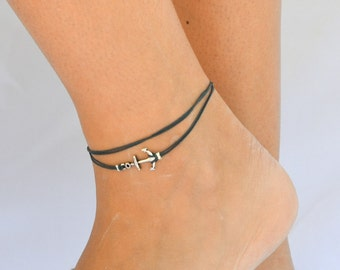 Anchor anklet, blue dainty wrap anklet with a silver anchor charm, blue ankle bracelet, gift for her, nautical, minimalist jewelry, sailing