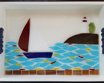 Lake Erie Marblehead lighthouse and sailboat tray
