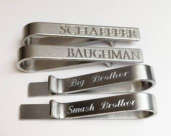Tie Clip - Tie Bar - Mens Engraved Tie Bar Clip - Hidden Message - Aluminum Lightweight