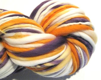 Handspun Yarn Opposites Attract 108 yards purple yarn orange yarn hand dyed merino wool waldorf doll hair knitting supplies crochet supplies