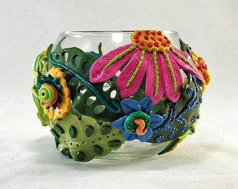 Whimsical Fantasy Glass Candle Holder