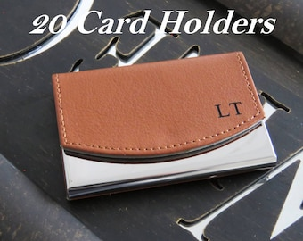 20 Personalized Business Card Holder, Leather Business Card Holder, Groomsmen Gift, Personalized Business Card Case,