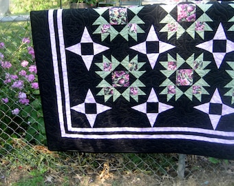 SALE, Buy 2/Get 1 Free -- STARRY ILLUSIONS, pdf quilt pattern, Throw, Twin, Queen & King sizes