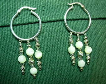 Sterling silver Hoop earrings with Mother of pearl / silver beads.