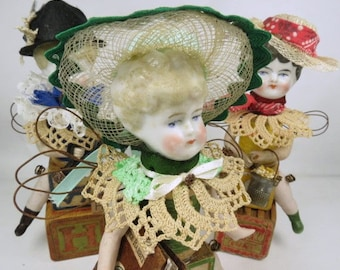 "Art Doll, ""Ramona"", Assemblage Doll with Antique Doll Parts and Vintage Blocks,"