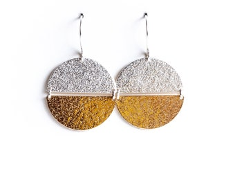 Elara earrings - sterling silver and brass lunar moon inspired minimalist mixed-metal ear dangles