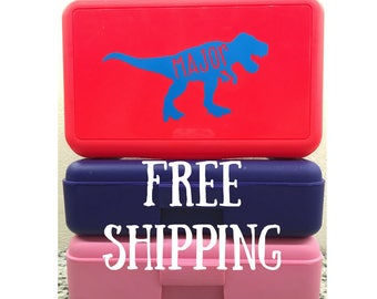 Free Shipping Personalized Dinosaur School Box - Personalized Pencil Box/Art Supply Box/storage box - Most Popular Back to School Gift