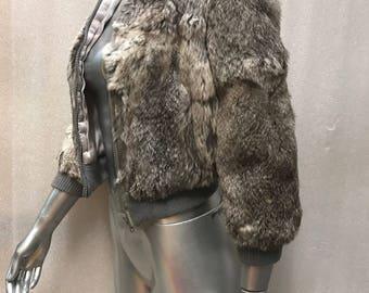 Rabbit fur coat woman size extra small .