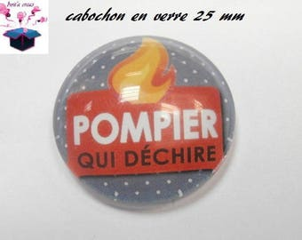 1 cabochon clear 25 mm round fireman theme