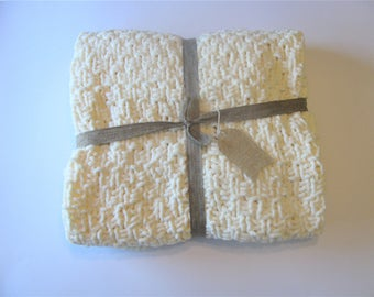 Cream Knit Baby Blanket