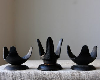 Vintage Mid Century Cast Iron Candle Holder Trio