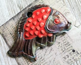 231. Wondrousstrange Raku Large  Fish Pisces Blue Green Copper Red Rust Raku Cosplay Pendant