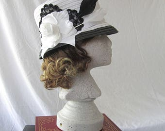 Stove Pipe Hat, Black & White Ladies Top Hat, French Lace, Styled Feathers, and a White Rose