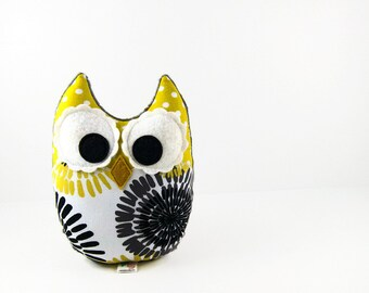 Stuffed Owl Citron Yellow Gray Black Plush Animal Baby Toy