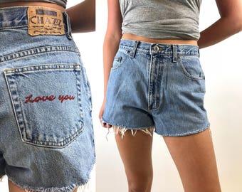 Vintage 90s Love You Custom Denim Cut offs - 90s Light Wash Jean Shorts - Distressed Levis - 28 Waist CHAZZ Originals