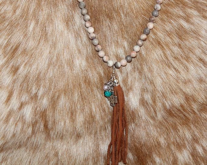 Tassel Necklace with Jasper Stones