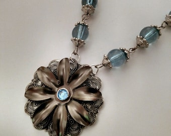 Blu Fiore  steampunk necklace