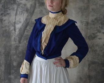 Victorian Blouse Blue Wool
