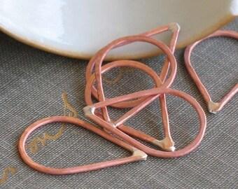 small copper teardrop links- copper drop links, teardrop frame, raw copper finding, earring findings, handmade supplies, copper connector