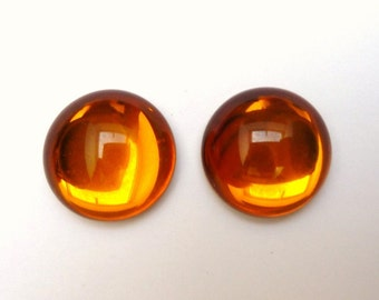 2 cabochons round, glass, Ø18mm, Topaz