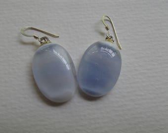 CB 73 White fused glass earrings