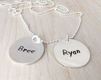 name tag jewelry, personalized 2 names mothers necklace, gift for mom, grandmothers necklace, 2 kids names necklace