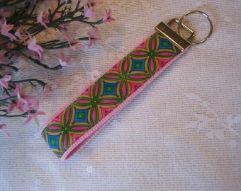 Stained Glass Fabric on Pink Key Fob Wristlet Key Chain
