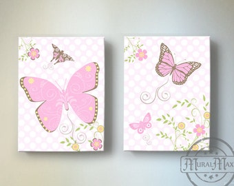 Butterfly Wall Art for Girls Room -Floral Butterfly Canvas art, Baby Girl Nursery Art, Pink and Brown Nursery Decor