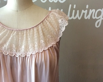 60s Nylon lace Nightgown / 1960s As Is Craft Project Pink Babydoll Dress / 60's Lingerie / 1960's Vintage Princess / Unique MCM Gifts Sissy