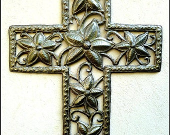 Metal Cross Wall Hanging - Metal Wall Art - Floral Cross, Christian Cross Wall Decor, Haitian Metal Art - Christian Gift - W-131-19