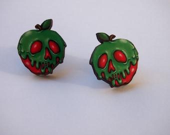 Poison Apple Laser Cut Wood Stud Earrings