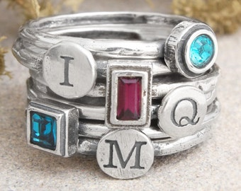 Stacking Rings, Mothers Ring with Initial and Birthstone, Personalized Stacked Rings in Sterling Silver by Toozy. Design your own ring set!