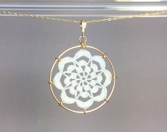Serendipity doily necklace, white silk thread, 14K gold-filled