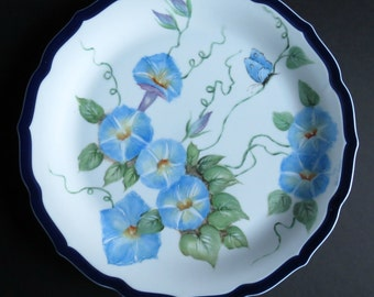 Gorgeous Vintage Hand Painted Porcelain Plate ~ Blue Morning Glories Flower ~ Blue Butterfly ~ Morning Glory ~ Vine ~ Artist Signed