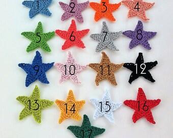 10 applique star in crochet 80mm - hearts of crochet - Crochet 10 STARS appliques 80mm - 10 appliques ÉTOILES au crochet 80 MM.