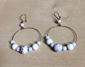 Vintage Chandelier Hoop Earrings With Speckeled White Beads