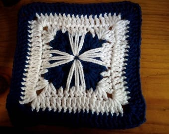 "8"" Digital Downloadable Crochet Design Square, ""Starburst Crochet Grannie Square"""