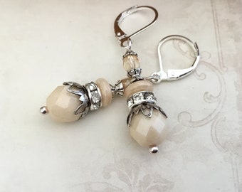 Ivory romantic silver oxidized silver vintage styled earrings