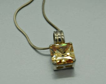 Vintage Sterling Yellow Orange Necklace