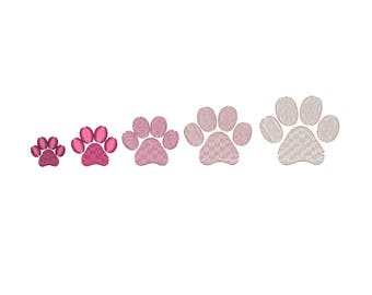 Mini Paw Print machine embroidery design. 5 sizes. Instant download