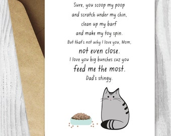 Printable Mothers Day Card Unique, Mothers Day Card, Funny Cat Mothers Day Digital Card, Funny Printable Card, Fur Baby Mom Instant Download